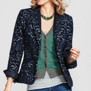 CAbi wool blazer scroll pattern blue